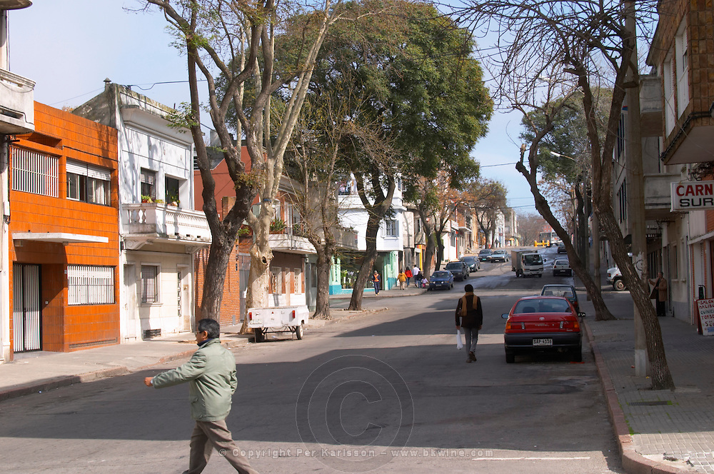 A street in central Montevideo with typical town houses. Montevideo, Uruguay, South America