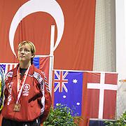 2. WOMEN'S WORLD BOXING CHAMPIONSHIPS.<br /> Denmark's Tina Hansen bronz medal. Dilek Sabanci Sport Hall Antalya/Turkey<br /> Photo by Aykut AKICI/TurkSporFoto