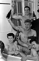 Fotball<br /> England <br /> Foto: Colorsport/Digitalsport<br /> NORWAY ONLY<br /> <br /> Liverpool players celebrate in the bath after their Semi Final victory. Top: Ron Yeats, Roger Hunt (Centre) Chris Lawler (Bottom left) Ralph Milne and Tommy Lawrence (right). Liverpool v Chelsea. FA Cup Semi final @ Villa Park. 27/3/65.