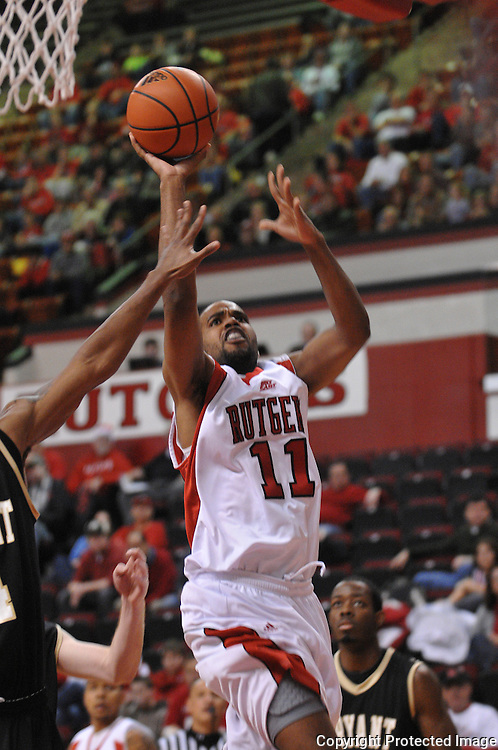 Dec 20, 2008; Piscataway, NJ, USA; Rutgers guard/forward Earl Pettis (11) puts up a basket during the first half of Rutgers' 67-37 victory over Bryant at the Louis Brown Rutgers Athletic Center.