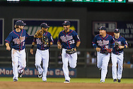 Aaron Hicks #32 of the Minnesota Twins and his teammates celebrate after he robbed a home run against the Chicago White Sox on May 13, 2013 at Target Field in Minneapolis, Minnesota.  The Twins defeated the White Sox 10 to 3.  Photo: Ben Krause
