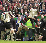 Leicester, Leicestershire, 3rd May 2003, Welford Road Stadium, [Mandatory Credit: Peter Spurrier/Intersport Images],Zurich Premiership Rugby - Leicester Tigers v London Irish<br /> Paul Sackey direct the high ball to Ryan Strudwick