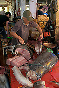 Preparing tunas for sale at Tomohon extreme market, north Sulawesi, Indonesia.