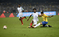 October 25, 2017 - Kolkata, West Bengal, India - England Jonathan Panzo (jersey 6) and Brazil Yuri Alberto (jersey 19) in action during the FIFA U 17 World Cup India 2017 Semi Final match in Kolkata. Players of England and Brazil in action during the FIFA U 17 World Cup India 2017 Semi Final match on October 25, 2017 in Kolkata. (Credit Image: © Saikat Paul/Pacific Press via ZUMA Wire)
