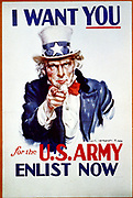 I want you for the U.S. Army 1941. (poster)'I want you' is above Uncle Sam, 'for the U.S. Army, Enlist now' is below him. From painting by James Montgomery Flagg, 1877-1960.