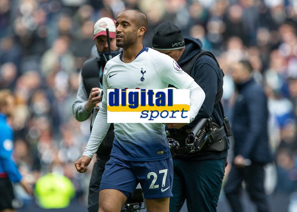 Football - 2018 / 2019 Premier League - Tottenham Hotspur vs. Huddersfield Town<br /> <br /> Lucas Moura (Tottenham FC)  with the match ball after scoring his first hat trick at The Tottenham Hotspur Stadium.<br /> <br /> COLORSPORT/DANIEL BEARHAM