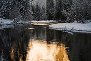Morning light on the Merced River in winter, Yosemite National Park, California USA