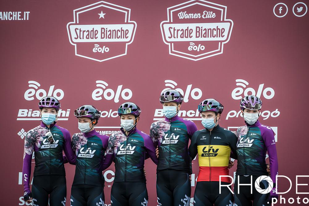 Team Liv Racing at the pre race team presentation<br /> <br /> <br /> 7th Strade Bianche Women Elite <br /> Siena > Siena 136km<br /> <br /> ©RhodePhoto
