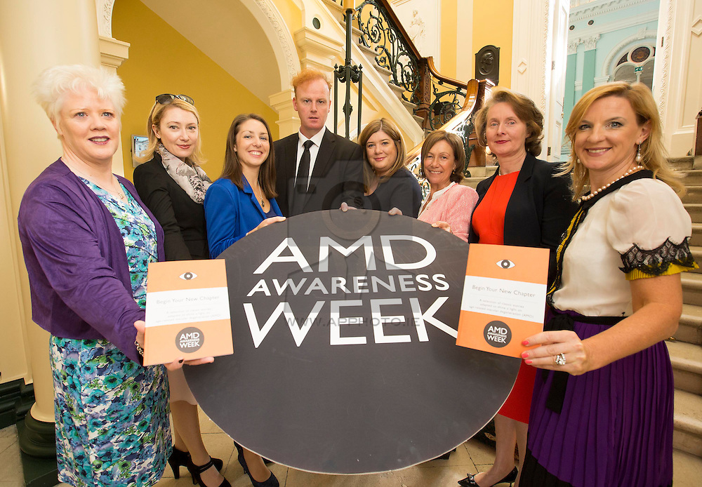 Repro Free: 15/09/2014 <br /> Pictured at the launch of the Begin Your New Chapter campaign for AMD Awareness Week 2014 is<br /> Elaine Howley, NCBI, Avril Daly, Fighting Blindness, Author Jennifer Burke, Author Andrew O'Connor, Doreen Curran, Novartis, Author Sheila O'Flanagan, Dr Marie Hickey-Dwyer, Irish College of Ophthalmologist, Lynda McGiveney-Nolan Association of Optometrists Ireland. Five Irish authors changed the endings of classic novels, including Jane Eyre, for the campaign. Over 50s can avail of free AMD testing during AMD Awareness Week which runs from Monday 15th to Sunday 21st September. The campaign is supported by Fighting Blindness, NCBI, Association of Optometrists, Irish College of Ophthalmologists and Novartis. Visit AMD.ie for more information on the locations. Picture Andres Poveda