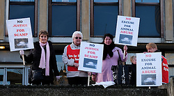 © Licensed to London News Pictures. <br /> 01/03/2017. <br /> Middlesbrough, UK.  <br /> <br /> Protestors gather outside Teesside Magistrates' Court to voice their disgust at MICHAEL HEATHCOCK, 59 and RICHARD FINCH, 60, both from Redcar as they appeared at Teesside Magistrates' Court and were sentenced to four months in prison and banned from keeping animals for life after pleading guilty to offences under the Animal Welfare Act on March 1, 2017 in Middlesbrough, United Kingdom. HEATHCOCK was charged with driving a nail into the head of his Terrier dog, Scamp, before burying it alive in Kirkleatham Woods near Redcar. His friend RICHARD FINCH, 60 from Redcar also pleaded guilty to assisting in the act. A couple walking in the woods heard the dog whimpering under a mound of earth with injuries that were so severe the dog had to be put down by a vet.<br /> <br /> Photo credit: Ian Forsyth/LNP
