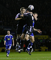 Photo: Steve Bond/Richard Lane Photography. Leicester City v Peterborough United. Coca-Cola Football League One. 20/12/2008. Craig Morgan (C) and Dean Keates (L) combine to beat Steve Howard (R)