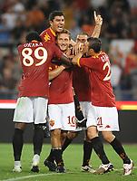 Esultanza di Francesco Totti (Roma), Okaka, Tonetto, Pizarro e Guberti.<br /> Roma vs Gent 3-1<br /> Europa League <br /> Stadio Olimpico, Roma, 30/07/2009.<br /> Photo Antonietta Baldassarre Inside