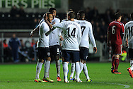 England's Nathan Redmond (l) celebrates after he scores his 3rd goal for his hat trick. UEFA 2015 European U21 championship, group one qualifier , Wales u21 v England u21 at the Liberty Stadium in Swansea, South Wales on Monday 19th May 2014. <br /> pic by Andrew Orchard, Andrew Orchard sports photography.