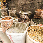 Sacks of herbs and spices available for sale next to the famous Spice Bazaar (also known as the Egyption Bazaar) in Istanbul, Turkey.