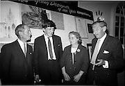 "28/06/1967<br /> 06/28/1967<br /> 28 June 1967<br /> Presentation of prizes at Navan Carpets ""Young Designer of the Year"" reception in the Royal Hibernian Hotel, Dublin. Image shows (l-r): Mr. B.V. Fox, Navan Carpets Ltd.; Michael Ó Éigeartaigh, (prize-winner) Turners Cross, Cork; Mrs Uí Éigeartaigh and Mr. Michael Bourke, Principal of the National College of Art."