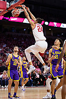 FAYETTEVILLE, AR - MARCH 4:  Ethan Henderson #24 of the Arkansas Razorbacks dunks the basketball during a game against the LSU Tigers at Bud Walton Arena on March 4, 2020 in Fayetteville, Arkansas.  The Razorbacks defeated the Tigers 99-90.  (Photo by Wesley Hitt/Getty Images) *** Local Caption *** Ethan Henderson