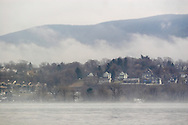Newburgh, NY - A view of the Hudson River and the Beacon waterfront on a foggy morning on Feb. 5, 2008.