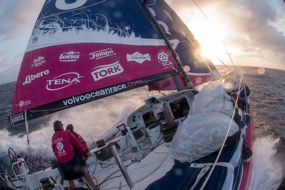 April 29, 2015. Leg 6 to Newport onboard Team SCA. Day 10. The sunsets on Team SCA as the team sends it offshore hitting speeds of 25+kts.