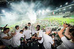 Players of Olimpija celebrate at trophy ceremony after winning during football match between NK Aluminij and NK Olimpija Ljubljana in the Final of Slovenian Football Cup 2017/18, on May 30, 2018 in SRC Stozice, Ljubljana, Slovenia. Photo by Vid Ponikvar / Sportida