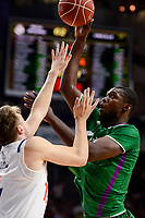 Real Madrid's Luka Doncic and Unicaja Malaga's Viny Okouo during semi finals of playoff Liga Endesa match between Real Madrid and Unicaja Malaga at Wizink Center in Madrid, May 31, 2017. Spain.<br /> (ALTERPHOTOS/BorjaB.Hojas)