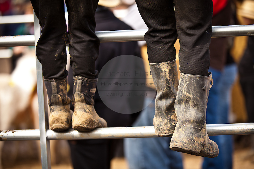 Amish muddy boots during the Annual Mud Sale to support the Fire Department  in Gordonville, PA.