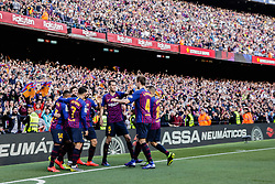 March 30, 2019 - Barcelona, BARCELONA, Spain - 10 Leo Messi of FC Barcelona celebrating his goal with his team during the ''Derby'' of La Liga match between FC Barcelona and RCD Espanyol in Camp Nou Stadium in Barcelona 30 of March of 2019, Spain. (Credit Image: © AFP7 via ZUMA Wire)