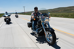 Joe Jackson of Liberty, MO and member of the Greater Kansas City HOG Chapter riding from Steamboat Springs, Colorado, to Baggs, Wyoming during the Rocky Mountain Regional HOG Rally, USA. Friday June 9, 2017. Photography ©2017 Michael Lichter.