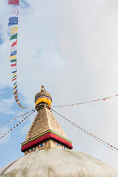 Stupa sanctuary with prayer flags, Bodnath