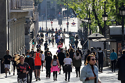 Daily life in Madrid, after new lockdown regulations in Spain, on May 02, 2020. Calle de Alcala in Madrid during the first day in which the general departures of almost the entire population are allowed, regulated by time bands. Two strips are established, in the morning and afternoon, so that those over 14 years old can go out to physically exercise individually or walk. These strips extend from 06:00 to 10:00 in the morning and from 20:00 to 23:00 at night. Separately and in attention to their special vulnerability, the strips between 10:00 a.m. and 12:00 p.m. and between 7:00 p.m. and 8:00 p.m. are defined specifically for the walks of people with special needs or those over 70 years. The walks with kids from 12:00 to 19:00. Health crisis due to the Covid-19 virus pandemic. Photo by Alejandro de Dios/AlterPhotos/ABACAPRESS.COM