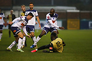Marine forward Mo Touray (10) makes a tackle during the The FA Cup match between Marine and Havant & Waterlooville FC at Marine Travel Arena, Great Crosby, United Kingdom on 29 November 2020.