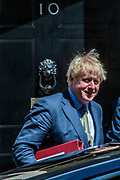 Prime Minister Boris Johnson leaves Ten Downing Street towards Parliament in London to attend his weekly session of PMQs on Wednesday, July 22, 2020. (VXP Photo/Erica Dezonne)