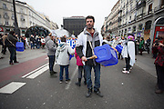 Juan Parri, an hospital attendant who was 13 days on  hunger strike at the Paz Hospital in Madrid protests against health privatization in Madrid