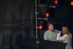 Disk jockey Dennis van der Geest provides entertainment<br />  during the first day of the beach volleyball event King of the Court at Jaarbeursplein on September 9, 2020 in Utrecht.