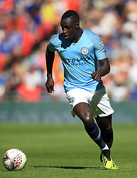 """Manchester City's Benjamin Mendy during the Community Shield match at Wembley Stadium, London. PRESS ASSOCIATION Photo. Picture date: Sunday August 5, 2018. See PA story SOCCER Community Shield. Photo credit should read: Adam Davy/PA Wire. RESTRICTIONS: EDITORIAL USE ONLY No use with unauthorised audio, video, data, fixture lists, club/league logos or """"live"""" services. Online in-match use limited to 75 images, no video emulation. No use in betting, games or single club/league/player publications."""