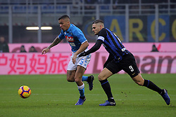 December 26, 2018 - Milan, Milan, Italy - Allan #5 of SSC Napoli competes for the ball with Mauro Icardi #9 of FC Internazionale Milano during the serie A match between FC Internazionale and SSC Napoli at Stadio Giuseppe Meazza on December 26, 2018 in Milan, Italy. (Credit Image: © Giuseppe Cottini/NurPhoto via ZUMA Press)