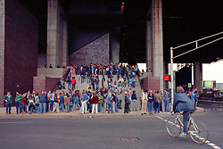The crowd forms outside The New Haven Coliseum before the Grateful Dead perform Live on 5 May 1977