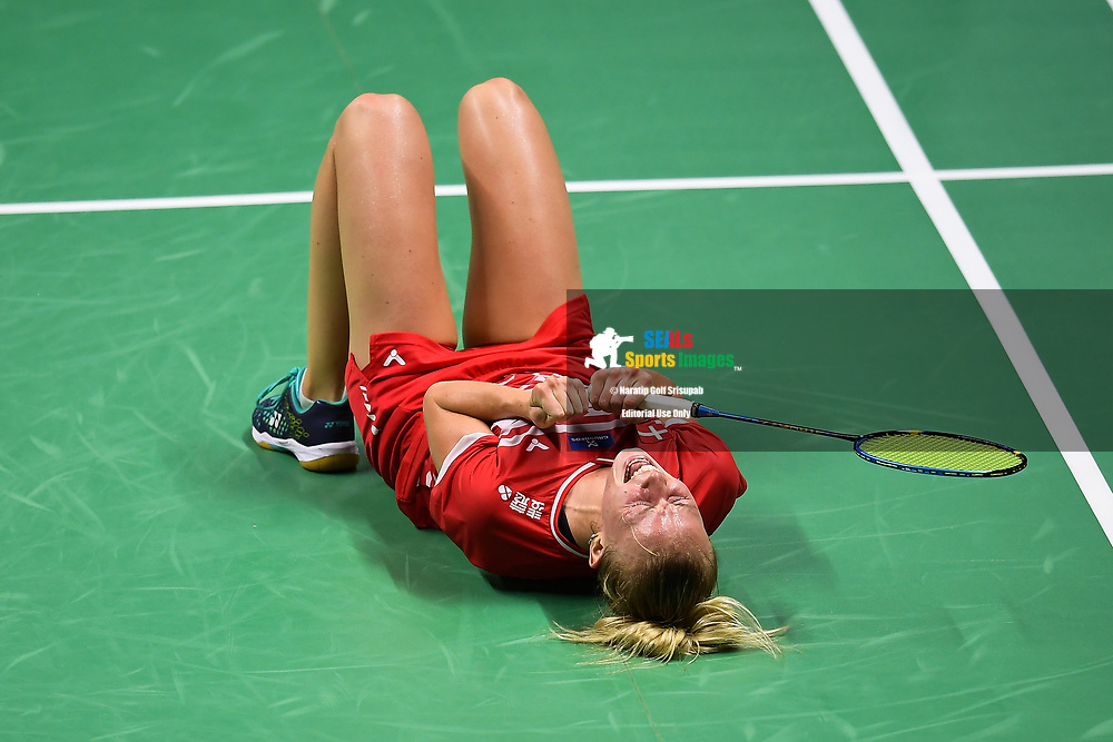 BANGKOK, THAILAND - MAY 24: Mia Blichfeldt of Denmark reaction on Court 1 after winning her Quarter Finals match against Chen Yufei of China at the BWF Total Thomas and Uber Cup Finals 2018, Impact Arena, Bangkok, Thailand on May 24, 2018.<br /> .<br /> .<br /> .<br /> (Photo by: Naratip Golf Srisupab/SEALs Sports Images)<br /> .<br /> Any image use must include a mandatory credit line adjacent to the content which should read: Naratip Golf Srisupab/SEALs Sports Images