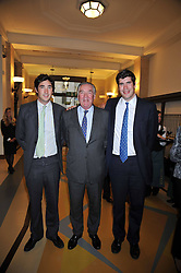 LORD VESTEY and his sons, left, the HON.WILLIAM VESTEY and right, the HON.ARTHUR VESTEY at the opeing of Green's Restaurant & Oyster Bar, 14 Cornhill, London EC3 on 1st September 2009.