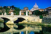 Ponte Vitt. Emanuele (bridge), St. Peter's Basilica in background, Rome, Italy