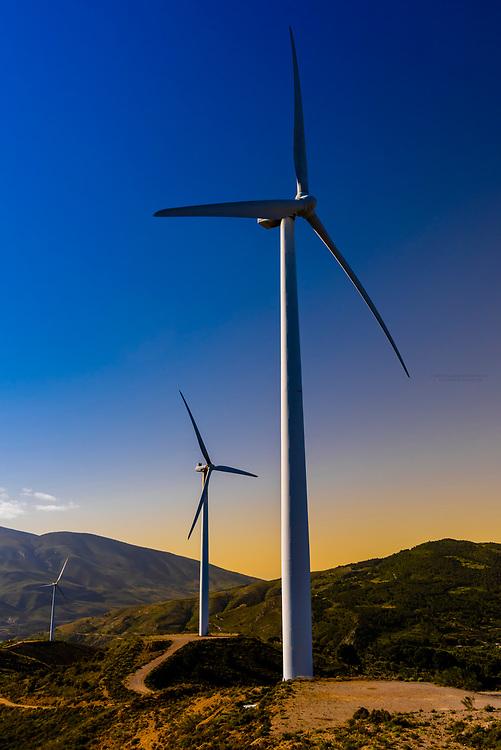 Wind turbines near Lanjaron, Alpujarra, Granada Province, Andalusia, Spain.