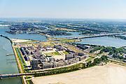 Nederland, Noord-Holland, Amsterdam, 29-06-2018; <br /> Zeeburgereiland met de silo's van de voormalige rioolwaterzuivering. Stadsontwikkelingsgebied met onder andere zelfbouw kavels. IJburg in het verschiet.<br /> Island Zeeburg, new city quarter in developement<br /> <br /> luchtfoto (toeslag op standard tarieven);<br /> aerial photo (additional fee required);<br /> copyright foto/photo Siebe Swart