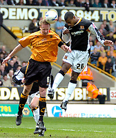 Photo: Ed Godden/Sportsbeat Images.<br />Wolverhampton Wanderers v Hull City. Coca Cola Championship. 09/04/2007. Hull's heads the ball towards goal, but is saved.