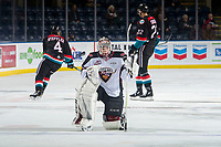KELOWNA, CANADA - NOVEMBER 28:  David Tendeck #30 of the Vancouver Giants kneels on the ice during warm up against the Kelowna Rockets on November 28, 2018 at Prospera Place in Kelowna, British Columbia, Canada.  (Photo by Marissa Baecker/Shoot the Breeze)
