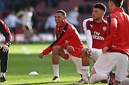 Kieran Gibbs of Arsenal during pre match stretching before k/o. The Emirates FA cup, 4th round match, Arsenal v Burnley at the Emirates Stadium in London on Saturday 30th January 2016.<br /> pic by John Patrick Fletcher, Andrew Orchard sports photography.