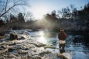 Tyler Hanks trout fishing in 20 degree F weather at daybreak on the Blue River near Tishomingo, Oklahoma