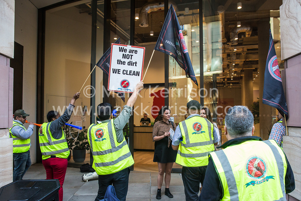 London, UK. 18 September, 2019. Cleaners and members of the CAIWU (Cleaners & Allied Independent Workers Union) trade union hold a noise protest outside the offices of global coworking company WeWork in the City of London. According to CAIWU, senior members of staff at WeWork have been involved in the recent victimisation and dismissal of five cleaners outsourced through contractor CCM and the trade union is calling for their reinstatement. Credit: Mark Kerrison/Alamy Live News