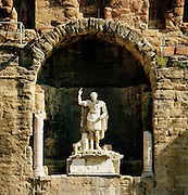 A statue of Emperor Augustus at the Théâtre antique d'Orange, The Ancient Theatre of Orange, a UNESCO World Heritage Site, Orange, France