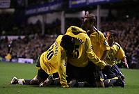Photo: Paul Thomas.<br /> Everton v Arsenal. Carling Cup. 08/11/2006.<br /> <br /> Emmanuel Adebayor (25) Arsenal goal scorer celebrates with Mathieu Flamini (R) and the Arsenal team.