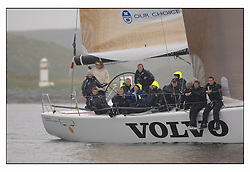 The first mornings racing at the Bell Lawrie Yachting Series in Tarbert Loch Fyne .Damp and light conditions made the conditions challenging for the competitors...Shirley Robertson, Alex Thompson and the Youth team on the Volvo RYA Keelboat programme Farr 45 John Merricks.( GBR 5955T ).