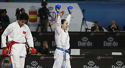 November 10, 2018 - Madrid, Madrid, Spain - Serbian karateka Jovana Prekovic seen celebrating after defeating the Chinese karateka Xiaoyan Yin during the Kumite female -61kg final competition of the 24th Karate World Championships at the WiZink centre in Madrid (Credit Image: © Manu Reino/SOPA Images via ZUMA Wire)